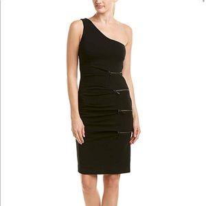 NWOT Nicole Miller Black One Shoulder Zip Dress